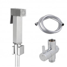 Square Brass Brushed Nickel Toilet Bidet Spray Wash Kit Diverter Set w..