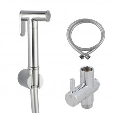 Round Chrome Toilet Bidet Spray Wash Kit with Diverter Tap Set 1.2m PV..