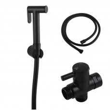 Round Black Toilet Bidet Spray Wash Kit with Diverter Tap Set 1.2m PVC..