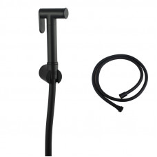 Round Black Brass Toilet Bidet Spray Kit with 1.2m PVC Water Hose