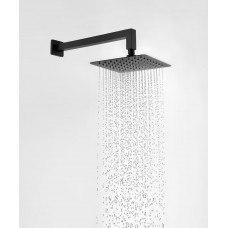 8 Inch Slim Square Nero Black Rainfall Shower Head 400mm Wall Arm Set