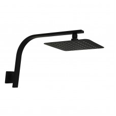 8 Inch Slim Square Nero Black Rainfall Shower Head Wall Gooseneck Arm Set