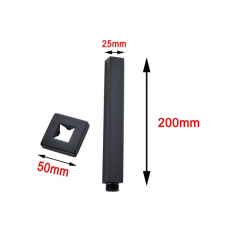 Square Nero Black Ceiling Shower Arm 200mm