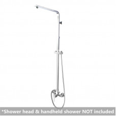 Square Chrome Bottom Water Inlet Shower Rail With Mixer Tap