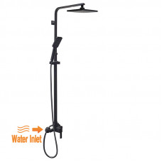 8 inch Square Black Twin Shower Set Bottom Water Inlet 3 Functions Han..