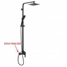 8 inch Square Black Shower Station Bottom Water Inlet 3 Functions Hand..