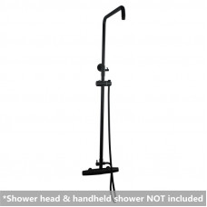 Black Round Wall Mount Bottom Water Inlet Shower Rail