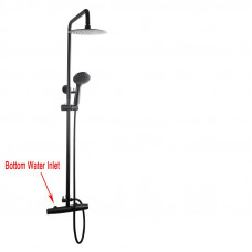 "Matt black 8"" Round Shower Handheld Sliding Rail Thermostatic Diverter Mixer Tap SET Bottom Water Inlet"