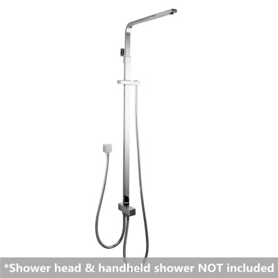 Square Chrome Top/Bottom Water Inlet Shower Rail With Diverter