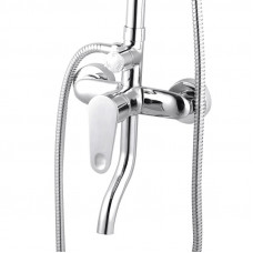 Round Chrome Bottom Water Inlet Shower Rail With Mixer Tap