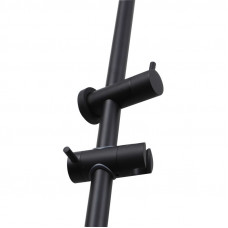 Right Angle Round Matt Black Shower Rail Top Water Inlet