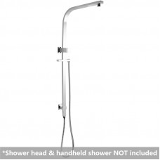 Square Chrome Top Water Inlet Shower Rail