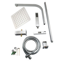8 inch Square Chrome Twin Shower Set Top Water ..