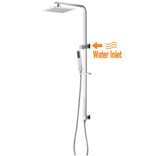8 inch Square Chrome Twin Shower Set Top Water Inlet