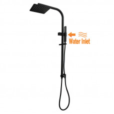8 inch Square Black Twin Shower Set Top Water Inlet