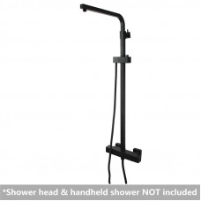 Square Black Thermostatic Sliding Shower Rail Bottom Water Inlet