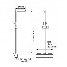 8 inch Square Chrome Twin Shower Set with Thermostatic Mixer Bottom Water Inlet Adjustable Rail