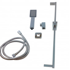 Square Chrome Shower Slider Rail
