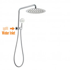 300mm Height Chrome Round Twin Shower Set Top Water Inlet