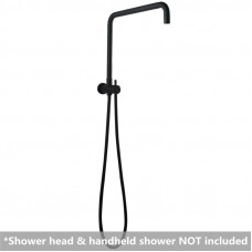 Round Matt Black Shower Rail Top Water Inlet