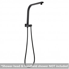 Square Matt Black Top Water Inlet Shower Rail With Built-In Diverter