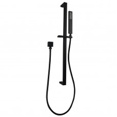 Square Nero Black Hand held Shower With Rail Shower Slider Set