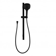 3 Functions Square Black Hand held Shower With Rail Shower Slider Set