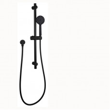 Round Black 3 Functions Handheld Shower Set With Rail Wall Mounted