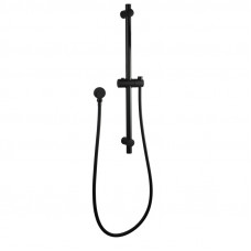 Round Black Adjustable Shower Rail with Wall Connector & Water Hos..
