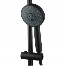 Round Nero Black 5 Fountions Hand held Shower With Rail Shower Slider ..
