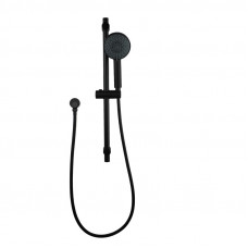 Round Nero Black 5 Fountions Hand held Shower With Rail Shower Slider Set