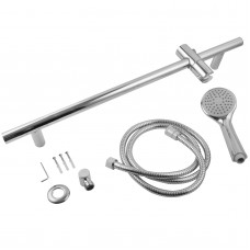 Round Chrome Shower Rail With Hand held Shower Set
