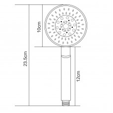 Chrome 5 Function Round ABS Hand Held Shower With 1500mm PVC Hose