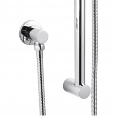 Round Chrome Shower Rail Sliding Holder with Soap Dish Water Hose &am..