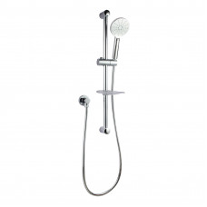 Round Chrome Shower Rail Hand held Shower Set with Soap Dish