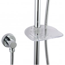 Round Chrome Sliding Rail Hand held Shower Set with Soap Dish