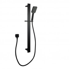 Square Black Sliding Shower Rail with 3 Mode Handheld Shower Wall Conn..