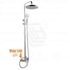 8 inch Round Twin Shower with ABS Top Shower Head Set Bottom Inlet