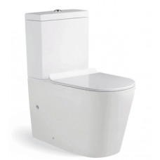 610x360x860mm Ceramic White Box Rimless Back To Wall Toilets Suite Two..