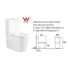 690x360x820mm Ceramic White Box Back To Wall Toilets Suite Two Piece T..