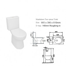 665x390x810mm Two Piece Toilets Suite S TRAP  WELS WATERMARK Soft Clos..