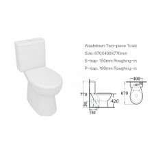 670x400x770mm Two Piece Toilets Suite S TRAP  WELS WATERMARK Soft Close Toilets Seat Wall Faced Ceramic with S Trap