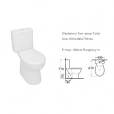 670x400x770mm Watermark Rimless Back To Wall Two pieces Toilets with P Trap