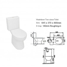 645x370x800mm Bathroom Close Coupled  Two Piece White Ceramic Toilet S..