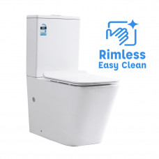 690x385x815mm Rimless Two-piece White Color Toilets with Soft Closed Toilets Seat Cover with P/S Trap