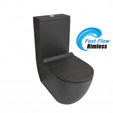 690x370x830mm Ceramic Black Rimless Back To Wall Toilets Suite Two Piece Toilets with P/S trap
