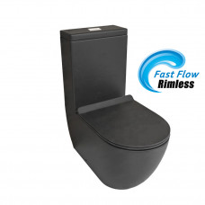 630x360x830mm Ceramic Black Rimless Back To Wall Toilets Suite Two Pie..
