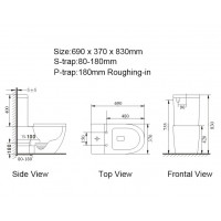 690x370x830mm Ceramic White Box Rimless Back To Wall Toilets Suite Two Piece Toilets with P/S trap