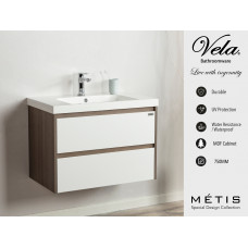750x460x527mm Wall Hung 2 Drawers Vanity with Polymarble Basin