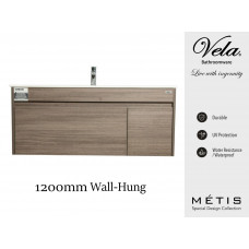 1200x460x550mm Rough Grey Wall-Hung Vanity with Polymarble Basin